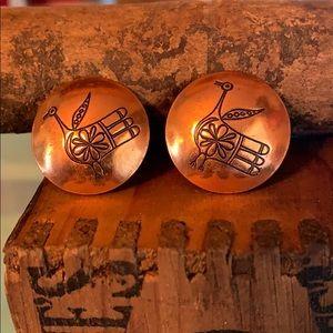 Vintage estate copper bird earrings